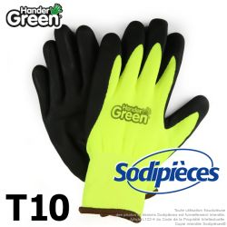 Gants double protection Handergreen. Fluo/noir. Taille 10