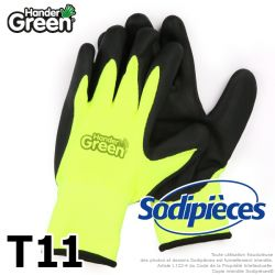 Gants double protection Handergreen. Fluo/noir. Taille 11