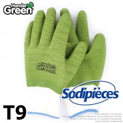 Gants crinkle Handergreen. Blanc/vert. Taille 9