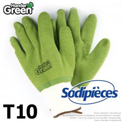 Gants crinkle Handergreen. Blanc/vert. Taille 10