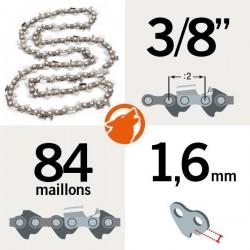 """Chaîne tronçonneuse KERWOOD 84 maillons 3/8"""", 1,6mm"""