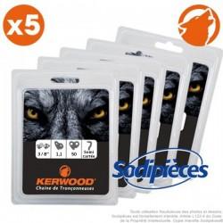 """Chaîne tronçonneuse KERWOOD 50 maillons 3/8"""", 1,1mm. Par 5"""