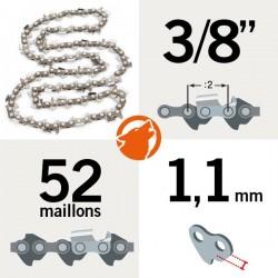 "Chaîne KERWOOD 52 maillons 3/8"",1,1mm"