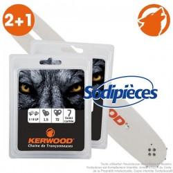"""Kit 1 guide 50 cm 3/8"""" 1,5 mm + 2 chaînes 72m 3/8"""" 1,5 mm"""