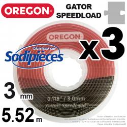Fil débroussailleuse Oregon Gator® SpeedLoad™ 3 x 1,6 mm