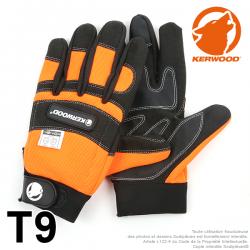 Gants forestier Kerwood noir. Protection main gauche taille M / 9. Class 1