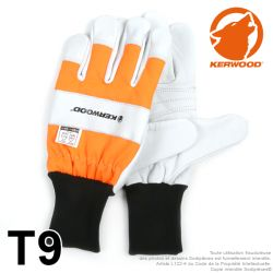 Gants forestier Kerwood Blanc. Protection main gauche taille M / 9
