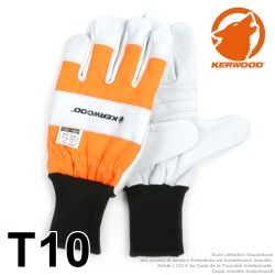 Gants forestier Kerwood Blanc. Protection main gauche taille L / 10