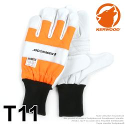 Gants forestier Kerwood Blanc. Protection main gauche taille XL / 11