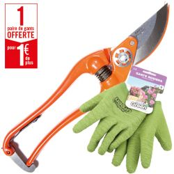 1 sécateur P3-23-F Bahco Pradines + 1 paire de gants Double Protection HanderGreen OFFERTE