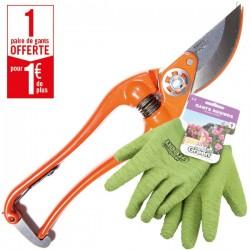 1 sécateur P3-23-F Bahco Pradines + 1 paire de gants Double Protection HanderGreen OFFERTE