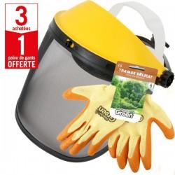 3 visières avec grillage métal + 1 paire de gants Travaux Délicat HanderGreen OFFERTE