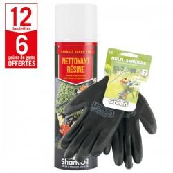 12 aérosols dissolvant résine Shark Oil + 6 paires de gants Multi-services HanderGreen OFFERTES