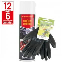 12 aérosols adhérent courroie Shark Oil + 6 paires de gants Multi-services HanderGreen OFFERTES