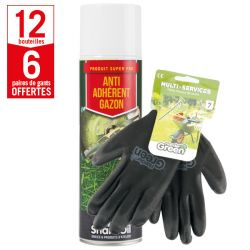 12 aérosols anti-adhérent gazon Shark Oil + 6 paires de gants Multi-services HanderGreen OFFERTES
