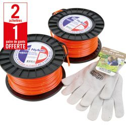 2 bobines Fil Nylon 4 mm x 50 m carré orange + 1 paire de gants Anti-dérapant HanderGreen OFFERTE