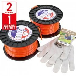 2 bobines Fil Nylon 4 mm x 50 m carré orange + 1 paire de gants Anti-dérapant HanderGreen OFFERTE