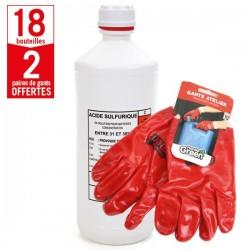 18 bouteilles acide batterie 1 litre + 2 paires de gants Produits Atelier HanderGreen OFFERTES