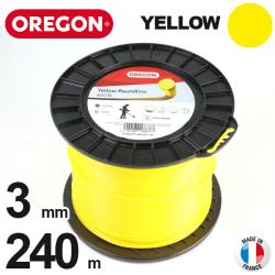 Fil Orégon Yellow rond jaune. 3 mm x 240 m pour débroussailleuse