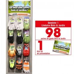 Linéaire gants Bois & Jardin. 98 paires de gants