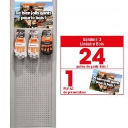 Linéaire gants Bois. 24 paires de gants