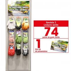 Linéaire gants Jardin. 74 paires de gants HanderGreen