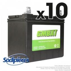 Batterie U1R9. Sans entretien pour tondeuse. Par 10