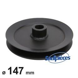 Poulie à gorge en V diam 147 mm. Largeur 33 mm