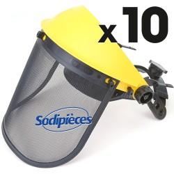 Visière grillagée + oreillette intégrée. Par 10