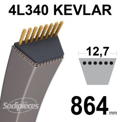 Courroie tondeuse 4L340 Kevlar Trapézoïdale 12,7 mm x 864 mm