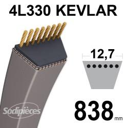 Courroie tondeuse 4L330 Kevlar Trapézoïdale 12,7 mm x 838 mm