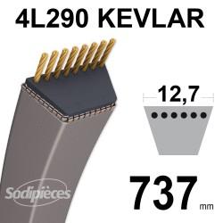 Courroie tondeuse 4L290 Kevlar Trapézoïdale 12,7 mm x 737 mm