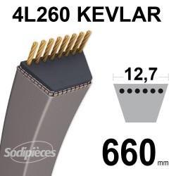 Courroie tondeuse 4L260 Kevlar Trapézoïdale 12,7 mm x 660 mm
