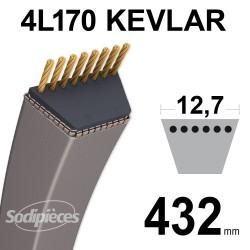 Courroie tondeuse 4L17 Kevlar Trapézoïdale. 12,7 mm x 432 mm.