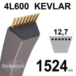 Courroie tondeuse 4L60 Kevlar Trapézoïdale. 12,7 mm x 1524 mm.
