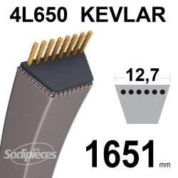 Courroie tondeuse 4L65 Kevlar Trapézoïdale. 12,7 mm x 1651 mm.