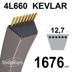 Courroie tondeuse 4L66 Kevlar Trapézoïdale. 12,7 mm x 1676 mm.