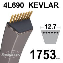 Courroie tondeuse 4L69 Kevlar Trapézoïdale. 12,7 mm x 1753 mm.