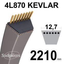 Courroie tondeuse 4L87 Kevlar Trapézoïdale. 12,7 mm x 2210 mm.