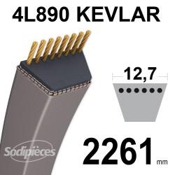 Courroie tondeuse 4L89 Kevlar Trapézoïdale. 12,7 mm x 2261 mm.