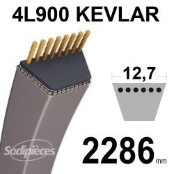 Courroie tondeuse 4L90 Kevlar Trapézoïdale. 12,7 mm x 2286 mm.