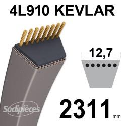 Courroie tondeuse 4L91 Kevlar Trapézoïdale. 12,7 mm x 2311 mm.