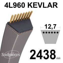 Courroie tondeuse 4L96 Kevlar Trapézoïdale. 12,7 mm x 2438 mm.