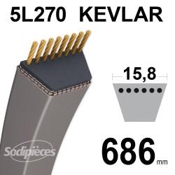 Courroie tondeuse 5L27 Kevlar Trapézoïdale. 15,8 mm x 686 mm.