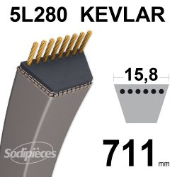 Courroie tondeuse 5L28 Kevlar Trapézoïdale. 15,8 mm x 711 mm.