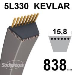 Courroie tondeuse 5L33 Kevlar Trapézoïdale. 15,8 mm x 838 mm.