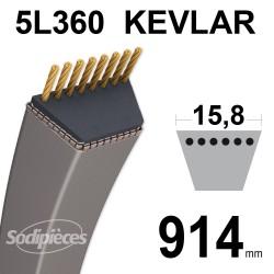 Courroie tondeuse 5L36 Kevlar Trapézoïdale. 15,8 mm x 914 mm.