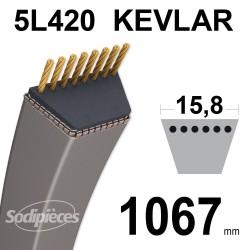 Courroie tondeuse 5L42 Kevlar Trapézoïdale. 15,8 mm x 1067 mm.