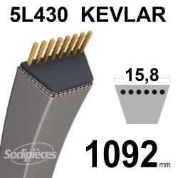 Courroie tondeuse 5L43 Kevlar Trapézoïdale. 15,8 mm x 1092 mm.
