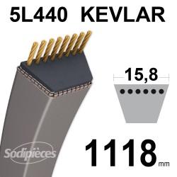 Courroie tondeuse 5L44 Kevlar Trapézoïdale. 15,8 mm x 1118 mm.